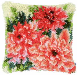 Pink Dahlias Latch Hook Cushion Kit by Vervaco