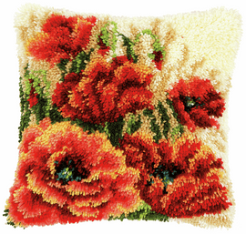Poppies Latch Hook Cushion Kit by Vervaco