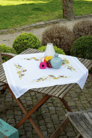 Songbirds Tablecloth Embroidery Kit by Vervaco