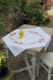 Flowers & Lavender Tablecloth Embroidery Kit by Vervaco
