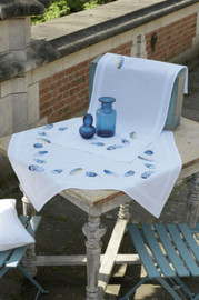Blue Feathers Tablecloth Embroidery Kit by Vervaco