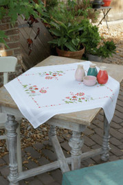 Flowers Tablecloth Counted Cross Stitch Kit by Vervaco