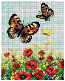 Printed Embroidery Kit: Butterflies on the Meadow by Orchidea