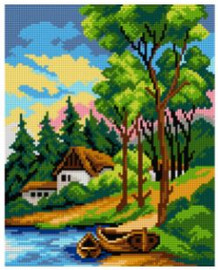 Printed Embroidery Kit: Landscape with Boats by Orchidea