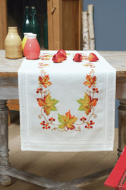 Autumn Leaves Runner Embroidery Kit by Vervaco