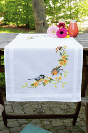 Songbirds Table Runner Embroidery Kit by Vervaco