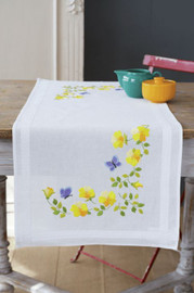 Spring Flowers Runner Embroidery Kit by Vervaco