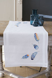 Blue Feathers Table Runner Embroidery Kit by Vervaco