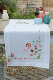 Flowers Table Runner Counted Cross Stitch Kit by Vervaco
