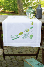 Leaves & Grass Table Runner Embroidery Kit by Vervaco
