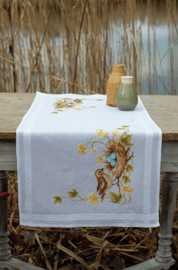 Little Bird in Nest Table Runner Embroidery Kit by Vervaco