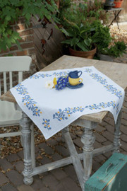 Blue Twigs (Aida) Tablecloth Counted Cross Stitch Kit by Vervaco