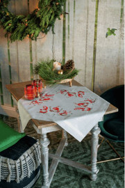 Christmas Gnomes Skiing Tablecloth Embroidery Kit by Vervaco
