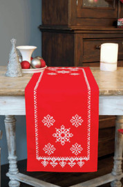 Snowflakes Runner Embroidery Kit by Vervaco