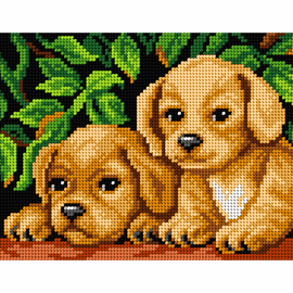 Printed Embroidery Kit: Puppies by Orchidea
