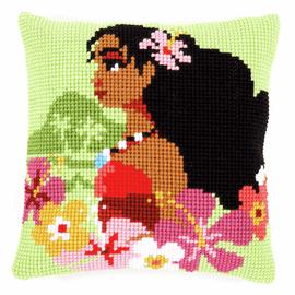 Disney Moana Island Girl Cross Stitch Cushion Kit by Vervaco