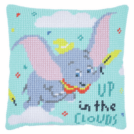 Dumbo Up in Clouds Cross Stitch Cushion Kit by Vervaco