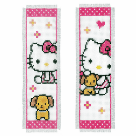 Hello Kitty With Dog(Set Of 2) Bookmark Counted Cross Stitch By Vervaco