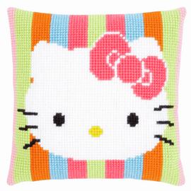 Hello Kitty Striped Cross Stitch Cushion Kit by Vervaco