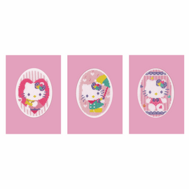 Greeting Card Hello Kitty Pastels Set of 3 Counted Cross Stitch Kit by Vervaco