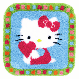 Hello Kitty with a Heart Latch Hook Rug Kit by Vervaco
