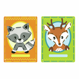 Raccoon & Deer Embroidery Kit Cards Set of 2 by Vervaco