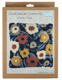 Modern Floral Cushion Punch Needle Kit by Trimits