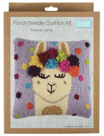 Festival Llama Cushion Punch Needle Kit by Trimits