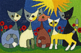 Five Cats Cross Stitch Kit by Bothy Threads