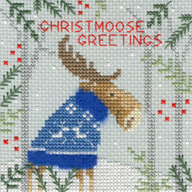 Xmas Moose Christmas Card Cross Stitch Kit by Bothy Threads