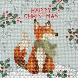 Xmas Fox Christmas Card Cross Stitch Kit by Bothy Threads