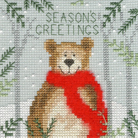 Xmas Bear Christmas Card Cross Stitch Kit by Bothy Threads