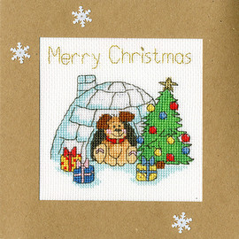 Winter Woof Christmas Card Cross Stitch Kit by Bothy Threads