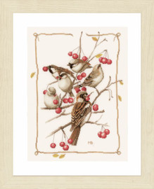 Sparrows and Currant Bush Counted Cross Stitch Kit Evenweave by Lanarte