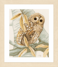 Owl and Autumn Leaves Counted Cross Stitch Kit by Lanarte