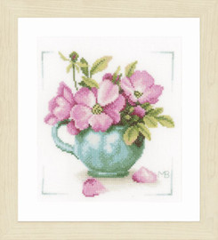Wild Roses Counted Cross Stitch Kit Evenweave by Lanarte