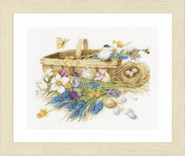 Spring Flowers Counted Cross Stitch Kit on Evenweave By Lanarte