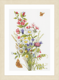 Field Flowers Counted Cross Stitch Kit on Evenweave By Lanarte