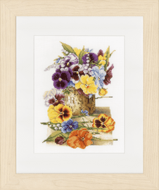 Pot of Pansies Counted Cross Stitch Kit on Evenweave By Lanarte