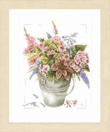 Bouquet of Flowers in Bucket Counted Cross Stitch Kit by Lanarte