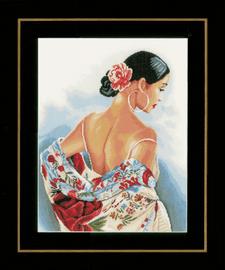 Flower Scarf(Aida) Counted Cross Stitch Kit by Lanarte