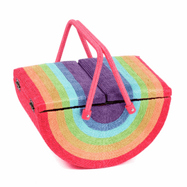 Twin Lid Rainbow Wicker Sewing Box by Hobby Gift