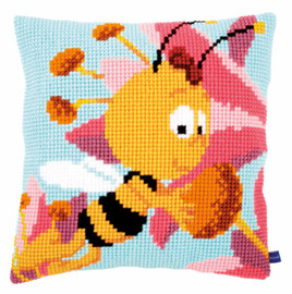 Willy with a Pink Flower Cushion Cross Stitch Kit by Vervaco