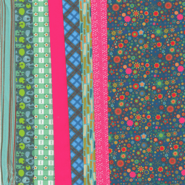 Making Couture Fabric Set: Multiflowers - Petrol By Vervaco