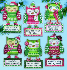 Happy Owlidays Christmas Tree Ornaments Kit By Design Works