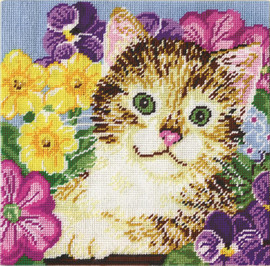 Crafts Cat in Flowers Tapestry Kits Kit By Design Works