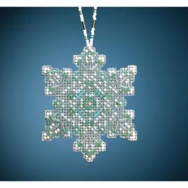 """Aqua Mist Snowflake Beading kit By Mill Hill 2.75""""X3.25"""""""