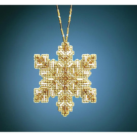 Golden Snowflake Ornament Beading Kit by Mill Hill