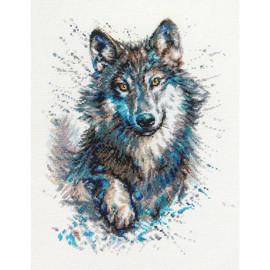 Snow, Splashes, Wolf Cross Stitch Kit By RTO