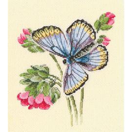 Butterfly on  the Dainty Flower Cross Stitch Kit by RTO